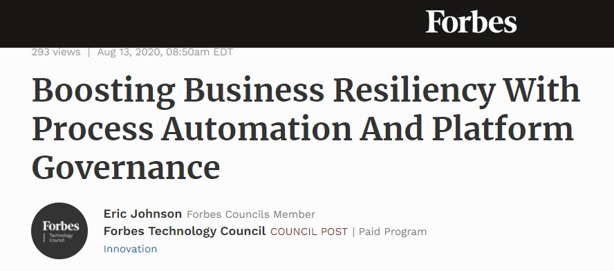 Forbes headline highlights the shift to automation to boost business resiliency