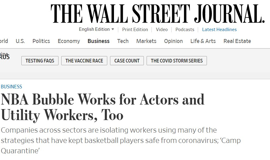 WSJ highlights the best practices developed by the NBA by putting welfare of its workers at the center of their operations
