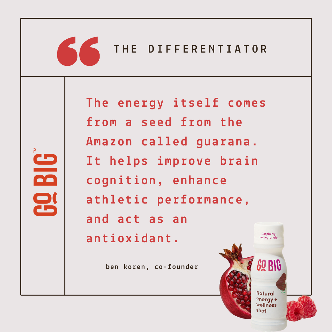 """""""The energy itself comes from a seed from the Amazon called guarana. The seeds themselves are beneficial for many other reasons, including improving people's brain cognition, ehancing their athletic performance by reducing post-exercise fatigue, and acting as an antioxidant. """" - Ben Koren, Co-Founder of GO BIG Wellness Shot"""
