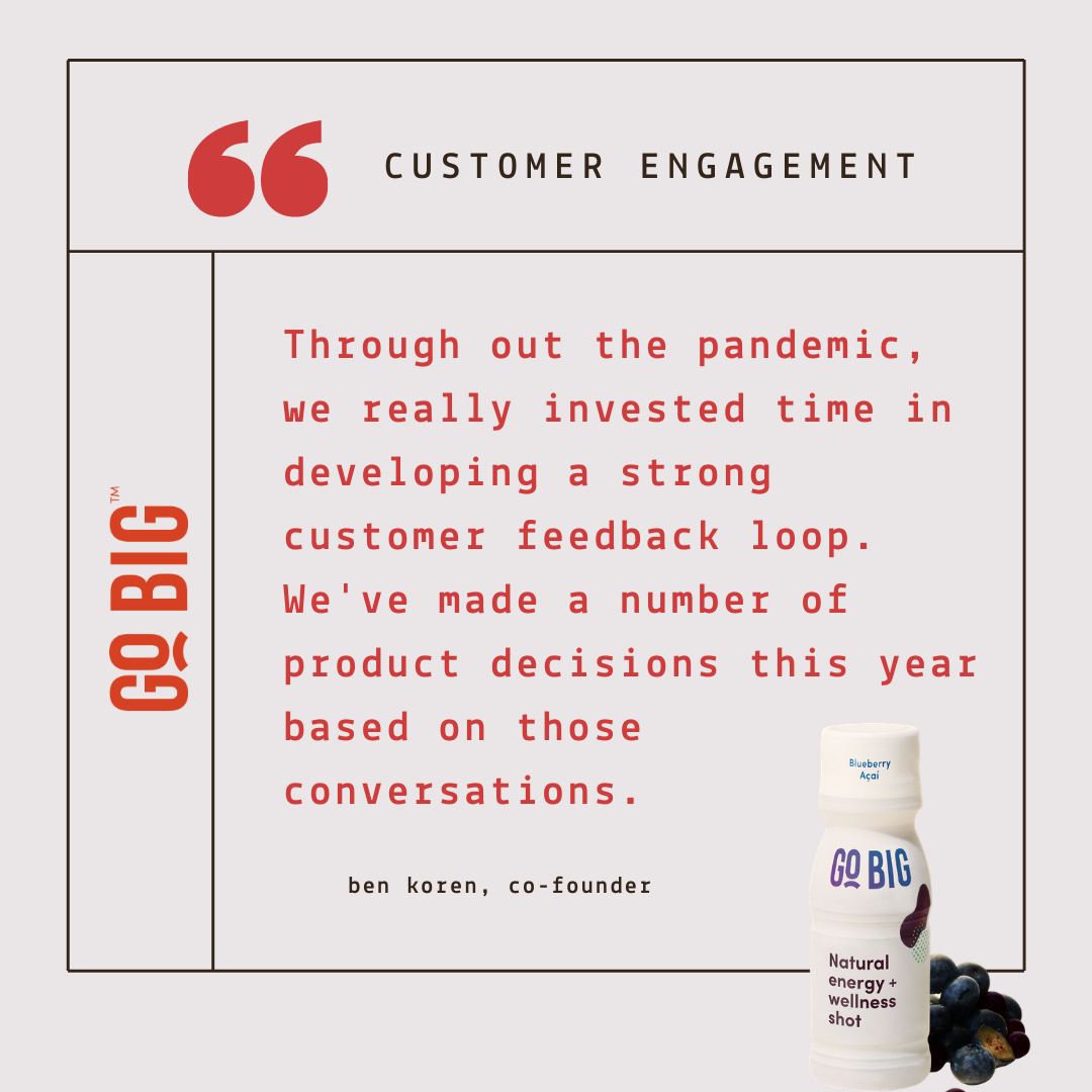 """""""Throughout the pandemic, we invested a lot of our time in developing a strong customer feedback loop."""" - Ben Koren, Co-Founder of GO BIG Wellness Shot"""
