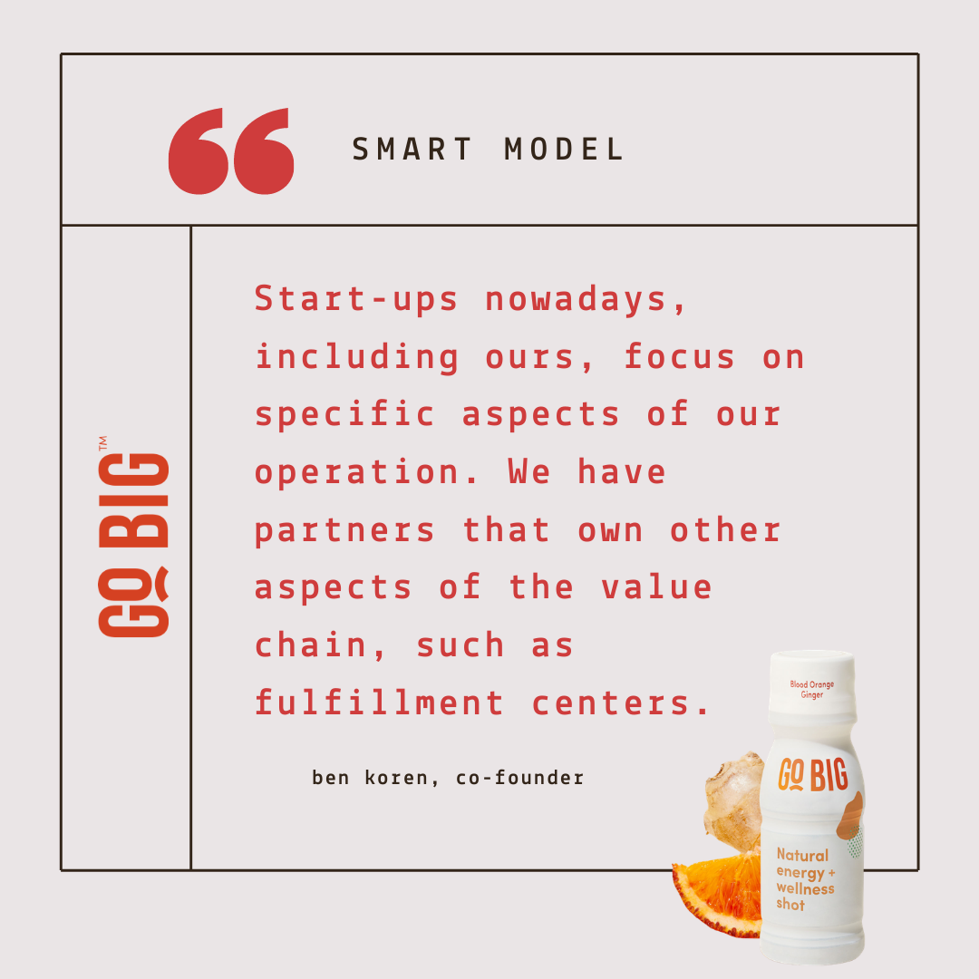 """""""Start-ups nowadays, including ours, focus on specific aspects of our operation. Then, we have partners that own other aspects of the value chain, such as fulfillment centers. """" - Ben Koren, Co-Founder of GO BIG Wellness Shot"""