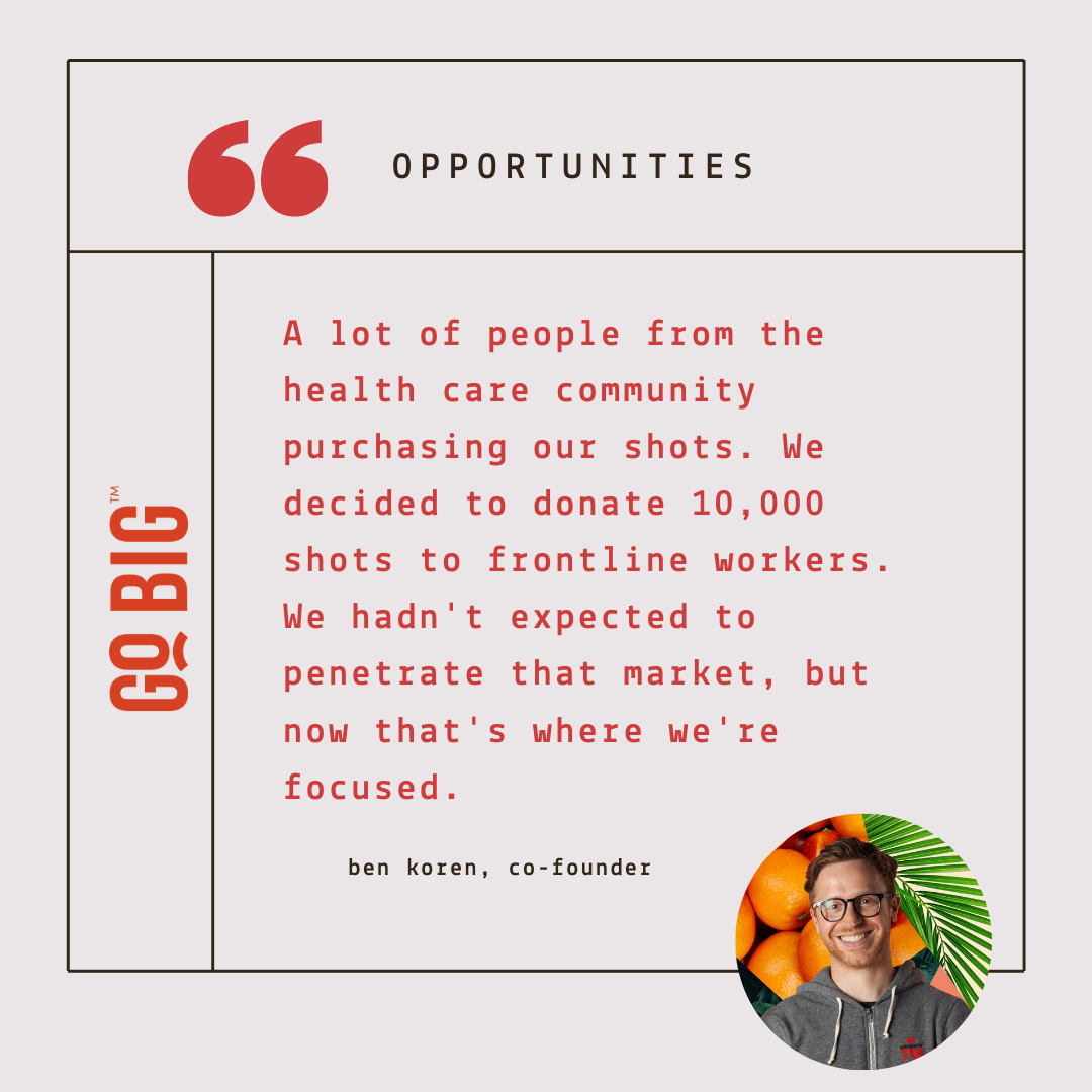 """""""And during the pandemic, we actually saw a lot of people from the health care community purchasing from us. When we began to see what was happening, especially in New York, we decided to donate 10,000 shots to frontline workers. We hadn't expected to penetrate that market, but now that's where we're focused."""" - Ben Koren, Co-Founder of GO BIG Wellness Shot"""