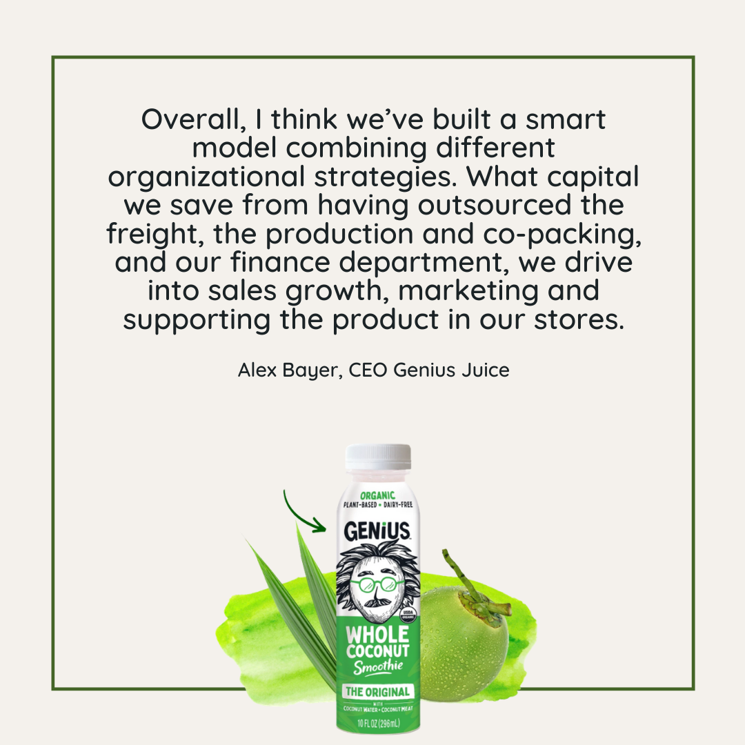 Quote: Overall, I think we've built a smart model combining different organizational strategies.  - Alex Bayer, CEO Genius Juice